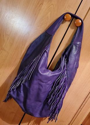 Большая сумка шоппер из натуральной кожи с бахромой