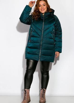 Куртка женская на молнии (батал) цвет сине-зеленый