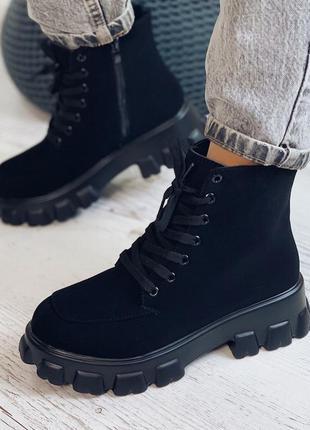 Демисезонные ботинки черные экозамш на флисе