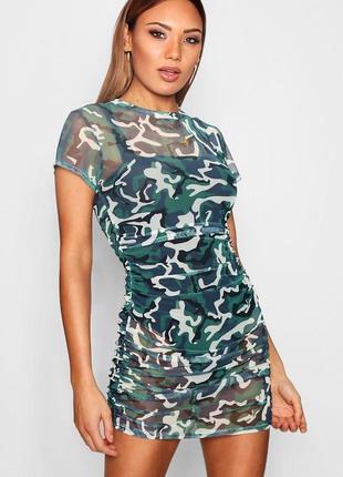Платье-сетка камуфляж