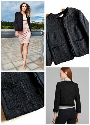 ✅фирменный твидовый пиджак/жакет h&m по типу шанель/твид/букле
