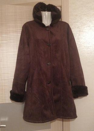 Шикарная замшевая дубленка пальто на меху с капюшоном
