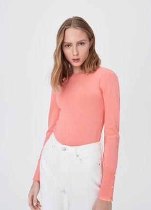Новая оранжевая лососевая кофта коралловый джемпер красный свитер кнопки рукав xs s m l xl