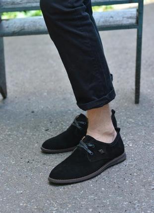 Туфли натуральная замша черные без каблука