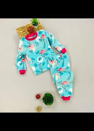 Яркие махровые пижамки. мягкие и очень теплые.  фламинго