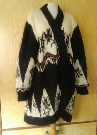 Мохеровая кофта, пальто , кардиган , черная с жёлто-бежевым, 5xl.