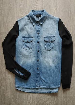 Крутая джинсовая рубашка с шифоновыми рукавами