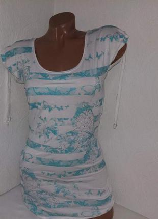 Удлиненная футболка с кружевной спинкойjane norman р-р 10.