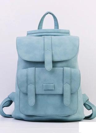 Городской молодежный женский модный стильный рюкзак сумка голубой