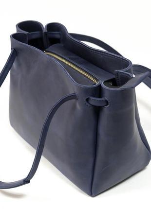 Женская вместительная синяя сумка из натуральной кожи crazy horse синего цвета