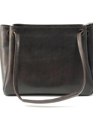 Женская вместительная коричневая кофейная сумка из натуральной кожи итальянский краст