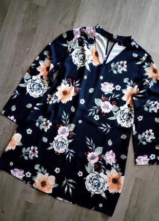Красивое  платье с v-образным вырезом в цветочный принт👍большого размера