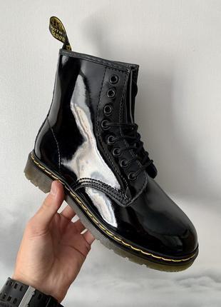 Кожаные осенние женские ботинки/ сапоги dr. martens 1460 patent  😍(без меха)