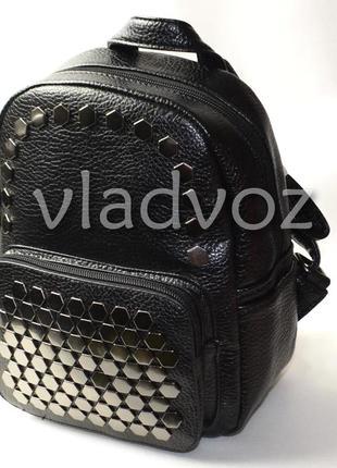 Молодежный модный женский рюкзак девочка черный