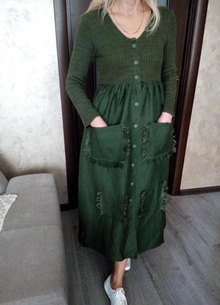 Натуральное эко платье из элитного текстиля рами этно бохо стиль