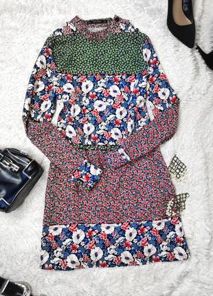 Платье принт цветы длинный рукав zara
