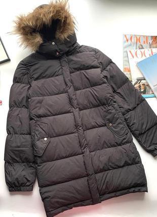 🧥чёрный пуховик натуральный пух/тёплый зимний пуховик с капюшоном натуральный мех🧥