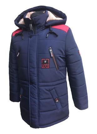 Р. 134-170 зимняя куртка-парка на овчине