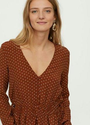 Актуальная блузка в горошек натуральная ткань блуза в горох h&m