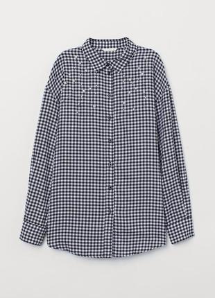Красива сорочка в дрібну клітинку з перлинками h&m