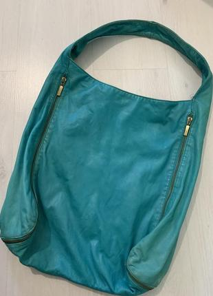 Сумка кожа, мятная кожаная сумка-торба