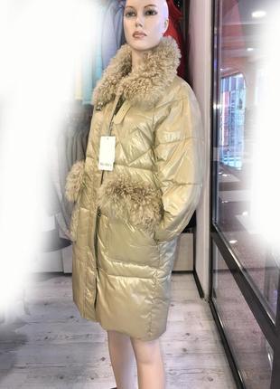 Стильная куртка max mara с натуральным мехом р. 46-48