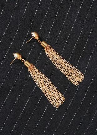 Трендовые золотистые висячие серьги кисти с цепью цепочками