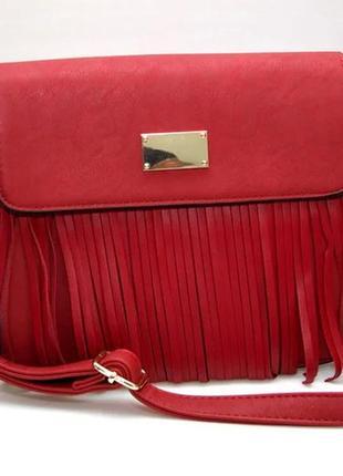 Женская модная стильная сумка красная бахрома