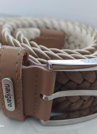 Ремень текстильный с кожаными вставками италия