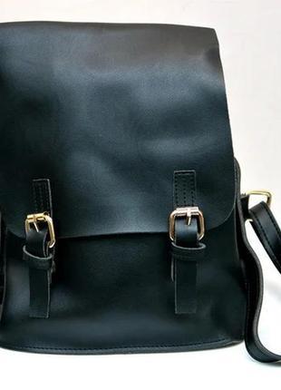 Молодежный модный рюкзак подросток девочка две застежки черный