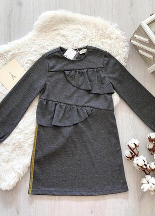 Стильное серое в ёлочку нарядное подростковое платье для девочки ovs kids италия