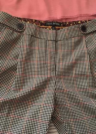 Осенние, укороченные брюки в клеточку, next, 8 размер
