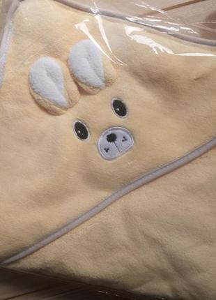 Детское полотенце-уголок. дитячий рушник квадратний з капюшоном.