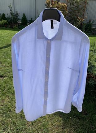 Рубашка в полоску полосатая голубая белая h&m
