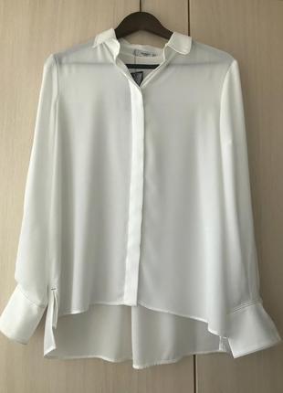 Белая блуза, рубашка с контрастной строчкой mango / m-l