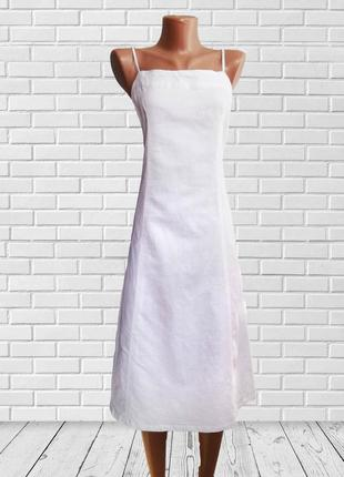 Белое натуральное платье сарафан , льняное, льон италия