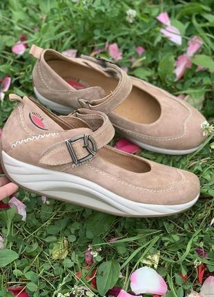 Шикарные кожаные туфли на платформе в спортивном стиле  gabor