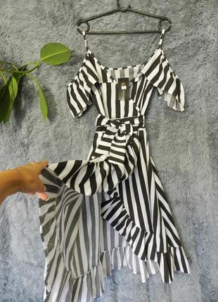 ✅шикарное платье сарафан в полоску с воланами эффект запаха