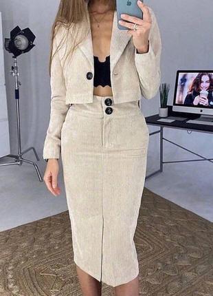 Вельветовый костюм юбка и пиджак