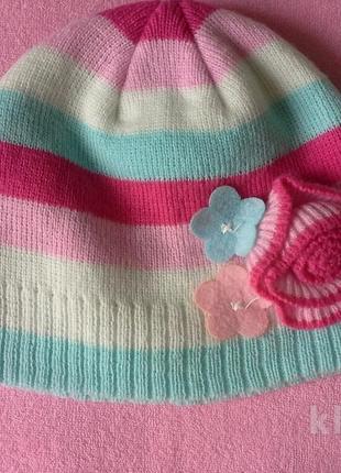 Демисезонная шапка для девочки 2-3 года