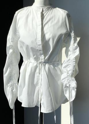 Новая рубашка без воротника h&m с завязками на рукавах белого цвета