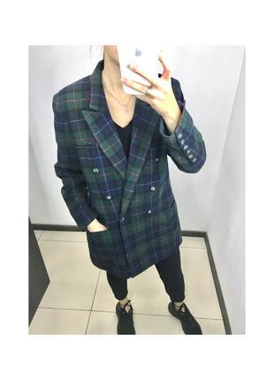 Пиджак винтаж двубортный теплый пальто шерсть в клетку