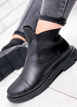 Ботинки женские palmire черные деми: натуральная кожа + резинка
