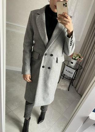 Пальто кашемировое, шерстяное серое