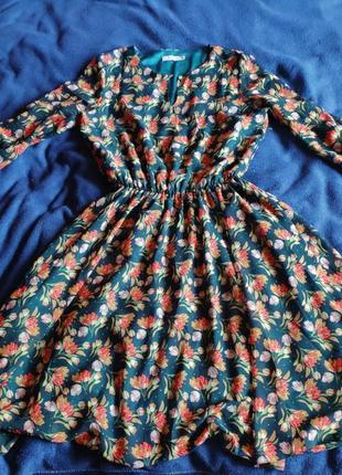 Платье шифон в цветы принт