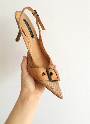 Новые кожаные туфли с соломой от gortz, стиль max mara valentino