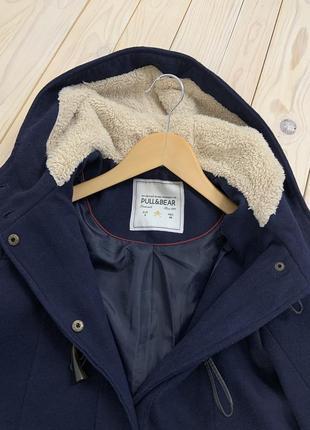 Темно-синяя куртка пальто с капюшоном весна-осень pull&bear