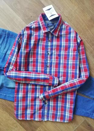 Рубашка в клетку, сорочка, блузка, оверсайз, боу, прямая, с карманом, в клетку