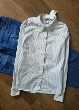 Белая рубашка в черную полоску, сорочка, блузка, рубашка