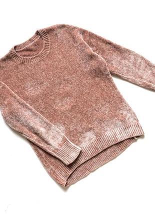 Стильный велюровый качественный пудровый свитер